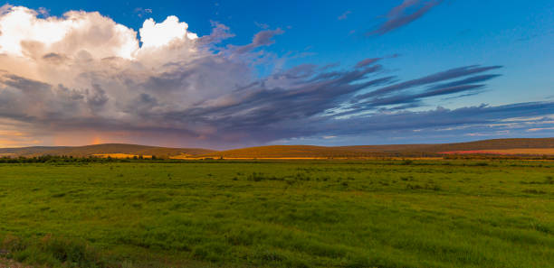 Waiting for thunderstorms... Russia. Siberia. Irkutsk Oblast. The Kachugsky district. Nature in this place is unique. Never the same sunrise and sunsets. horizon over land stock pictures, royalty-free photos & images
