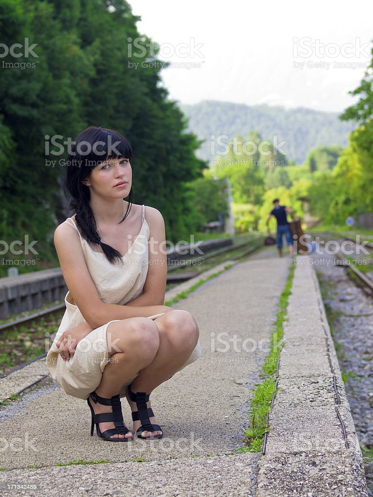 Waiting for train royalty-free stock photo
