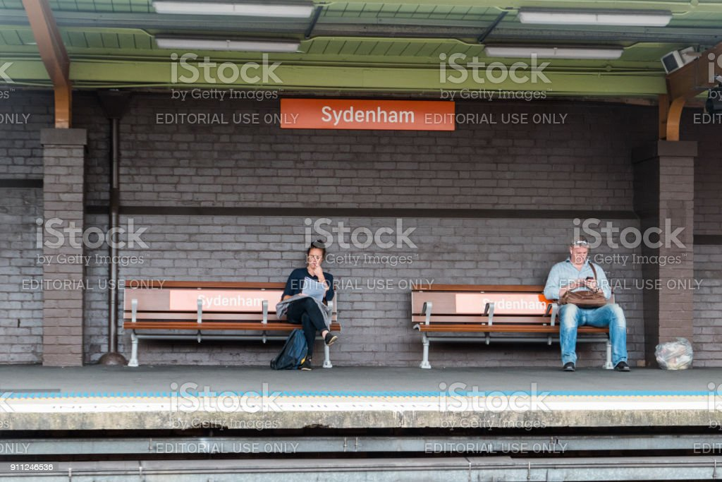 Waiting for train stock photo