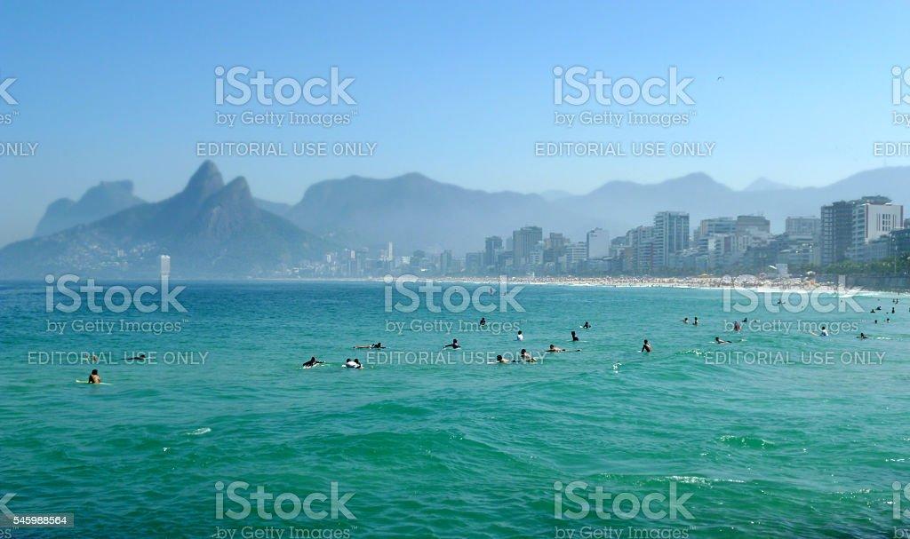 Waiting for waves at Arpoador beach in Rio de Janeiro stock photo