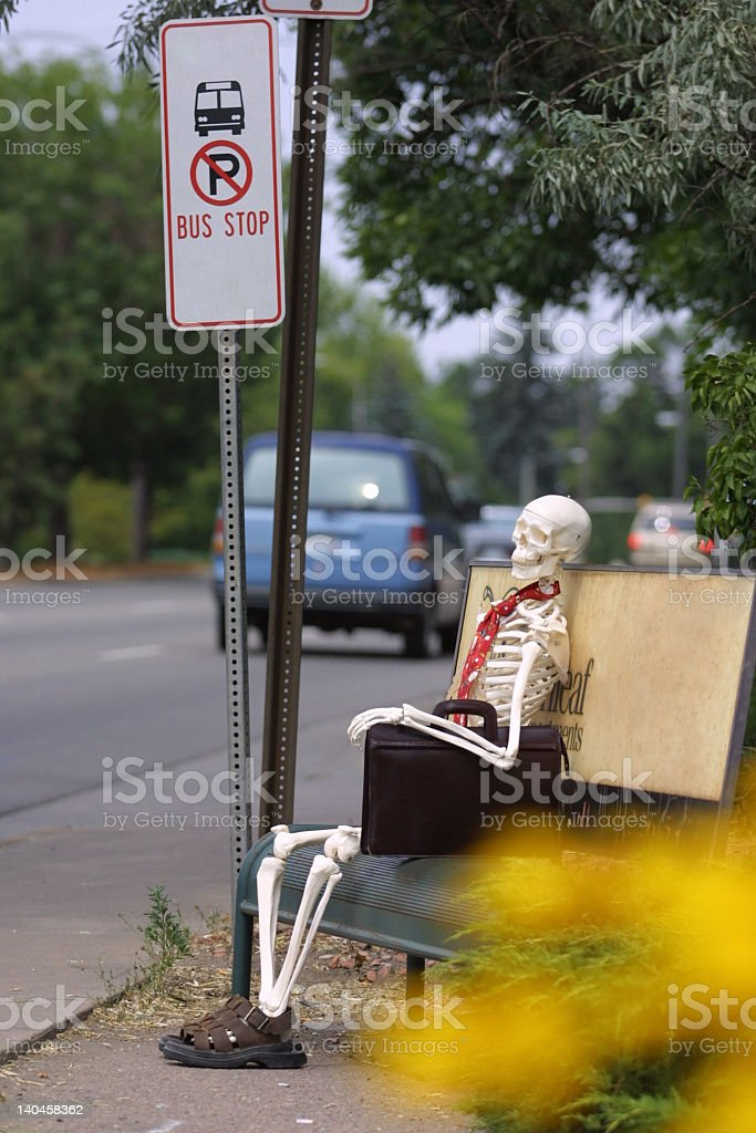 Waiting FOREVER for a bus stock photo