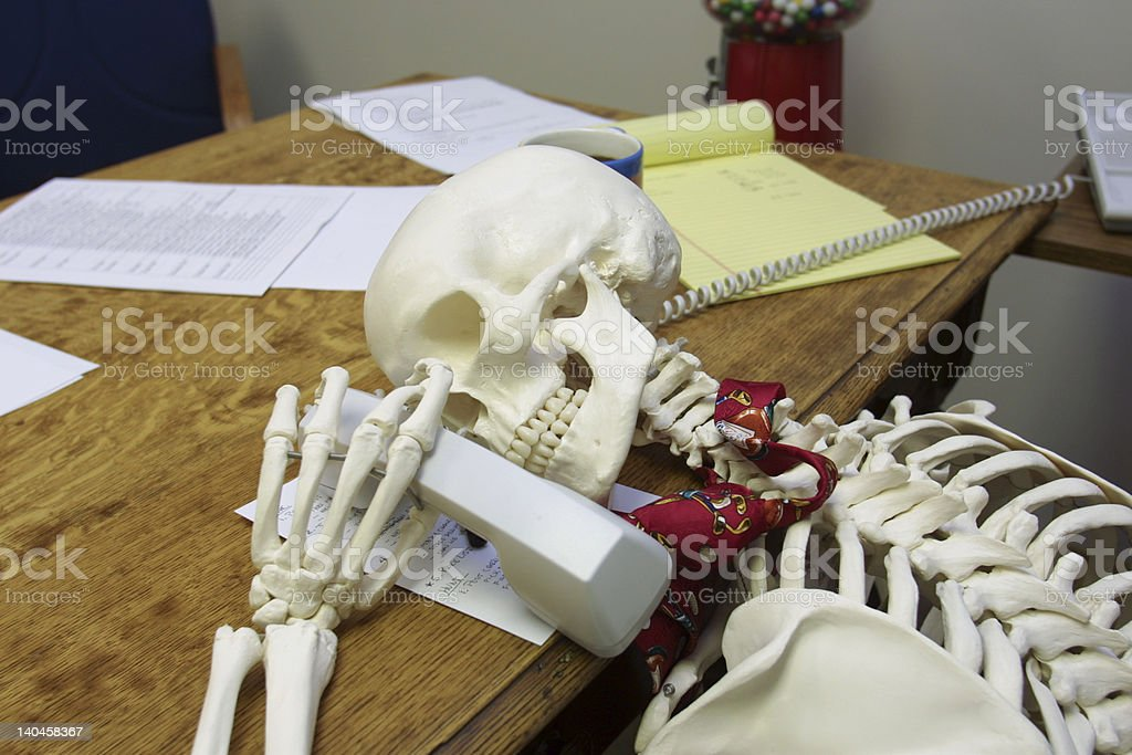 Waiting FOREVER on hold stock photo