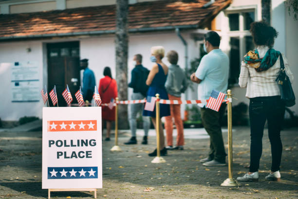 Waiting in line on Election Day stock photo