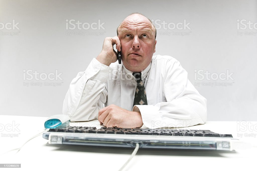 Waiting on the phone stock photo