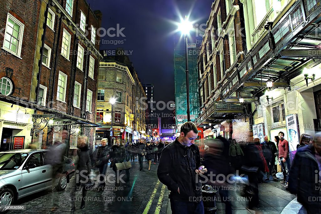 Waiting outside a theatre stock photo