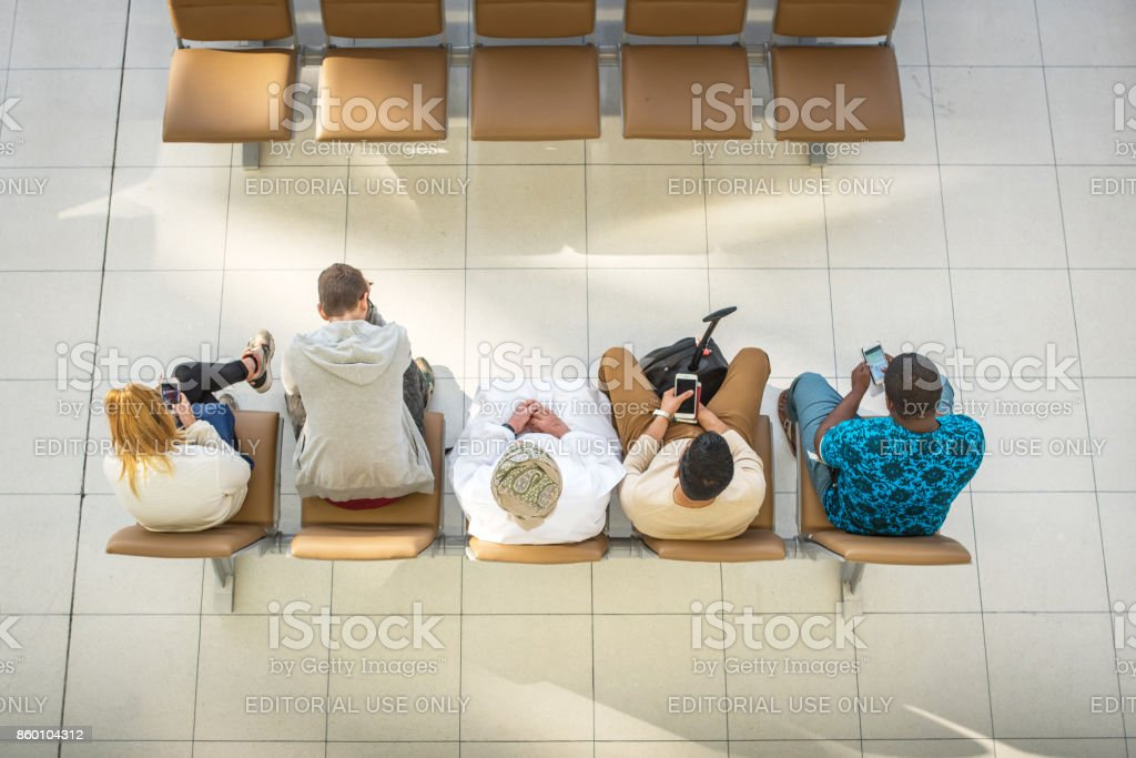 Waiting passengers at airport, Thailand stock photo