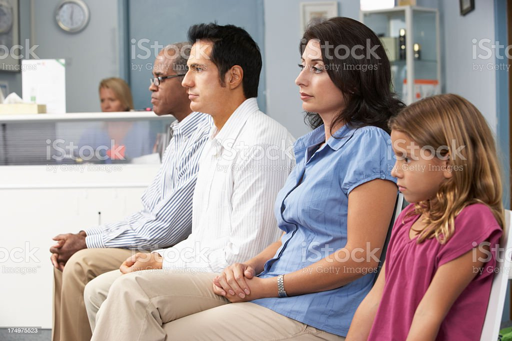 Waiting patients in a medical practice stock photo