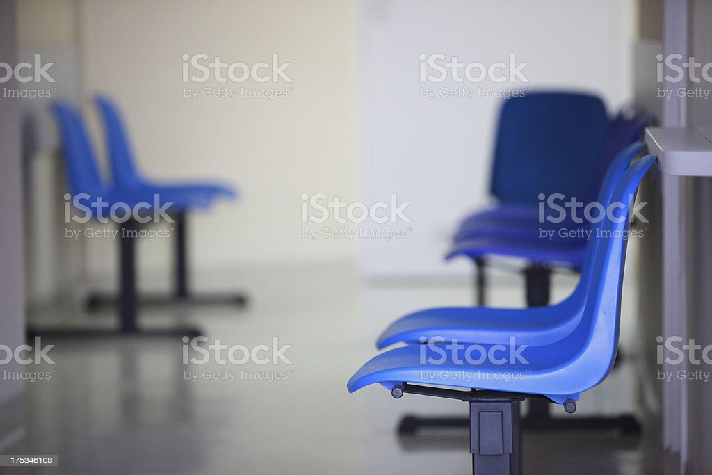 waiting room blue chairs door royalty-free stock photo