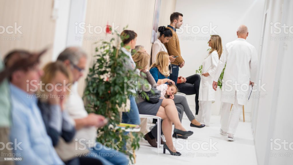 Waiting room in a hospital stock photo