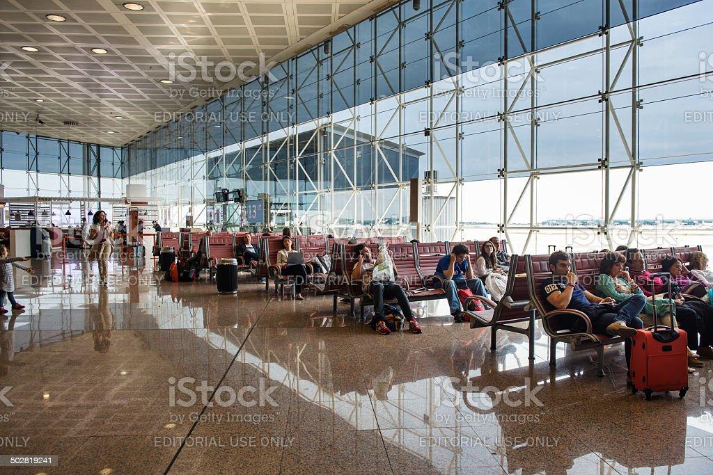 Waiting room inside El Prat International Airport. stock photo