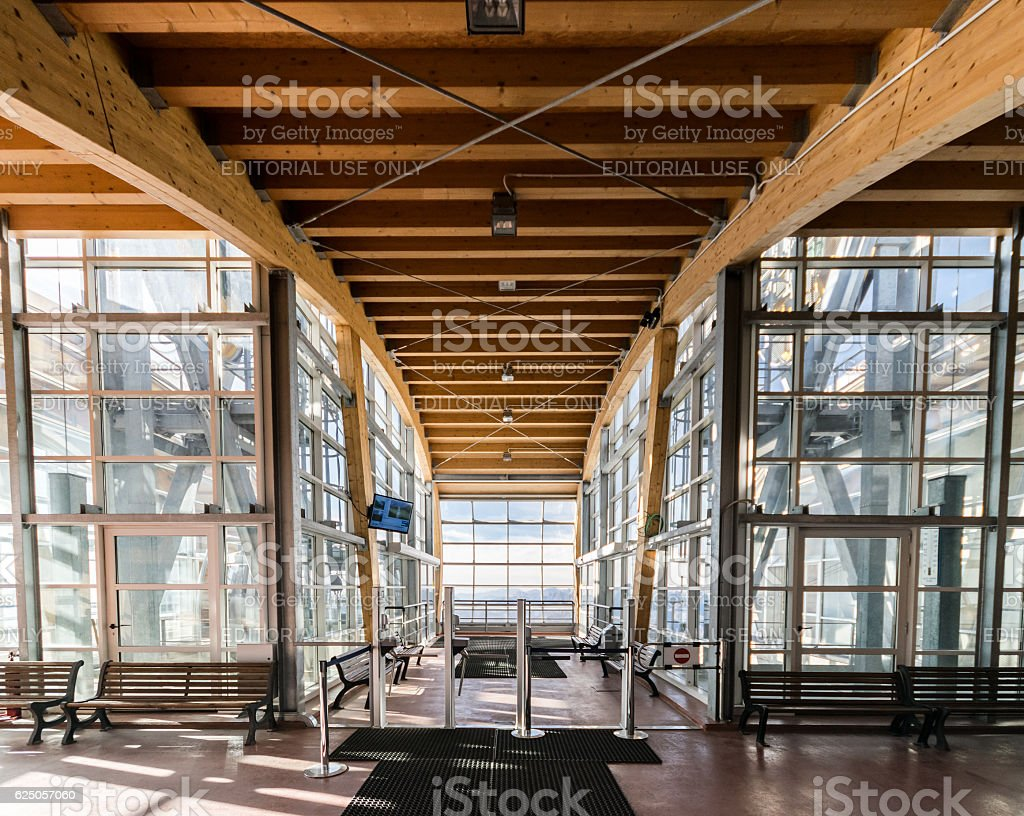 Waiting room inside the mountain station of a cableway. stock photo