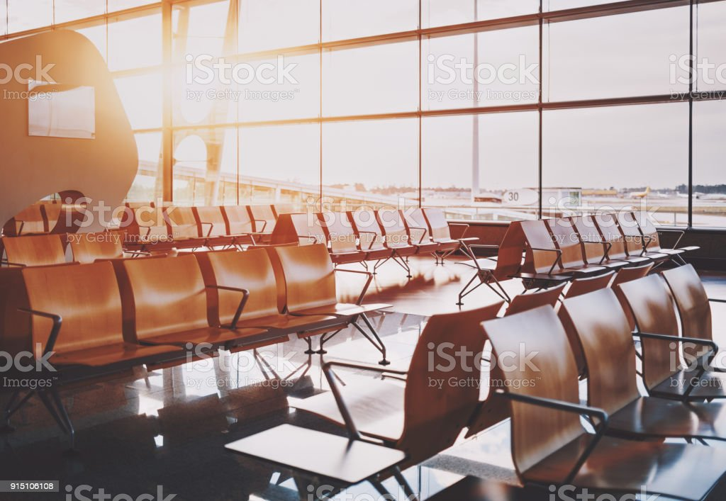 Waiting room of airport near gate stock photo
