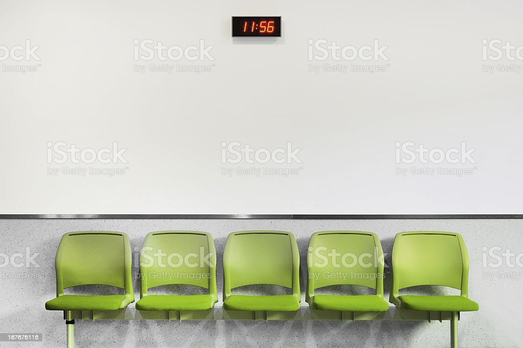 Waiting Room Seating and Clock stock photo