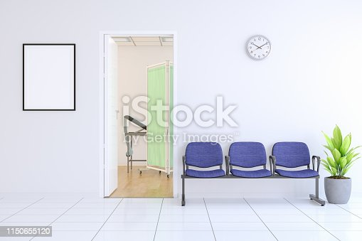 Waiting Room with Empty Frame Outside Of Doctor's Office