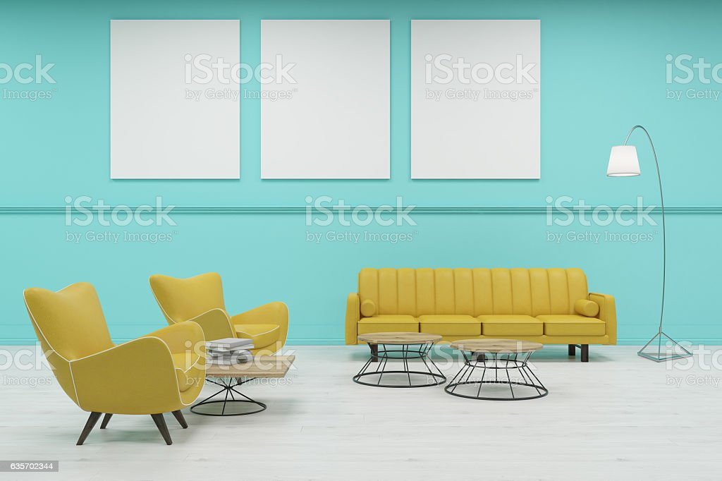 Waiting room with green walls and tree posters royalty-free stock photo