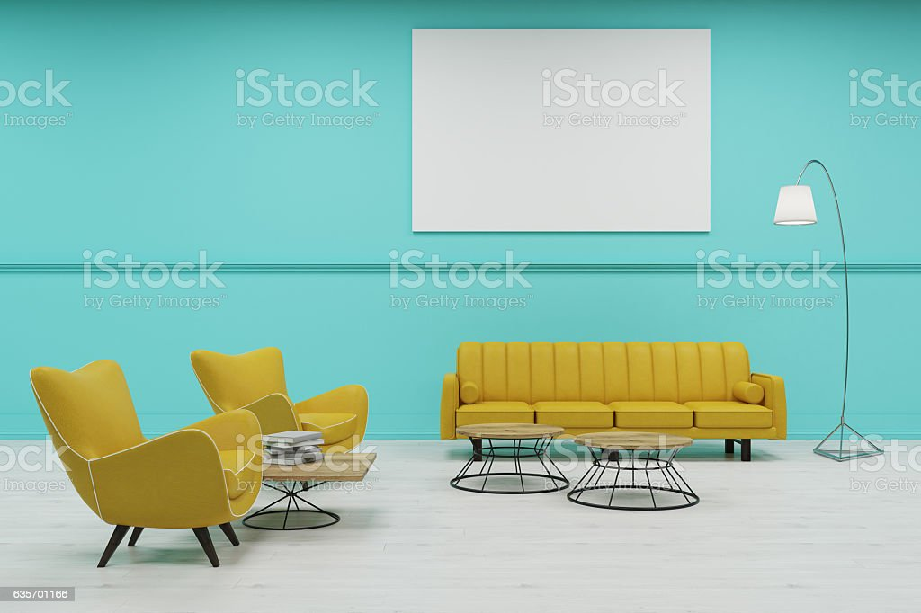 Waiting room with green walls royalty-free stock photo