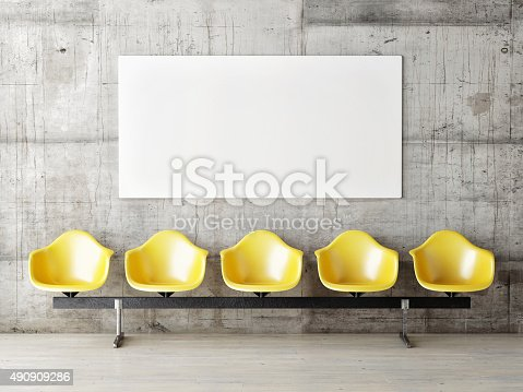 istock Waiting room with poster, five yellow chairs 490909286