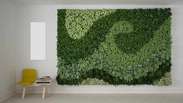 Waiting room with vertical garden stock photo