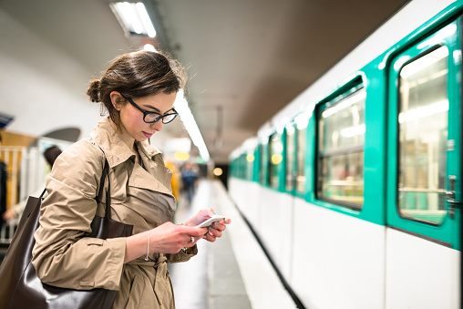 Waiting The Train In Paris Subway Station Stock Photo - Download Image Now