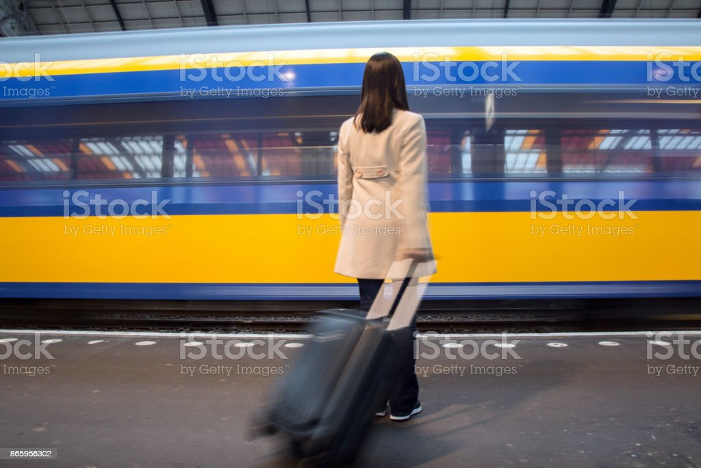 Waiting the train stock photo