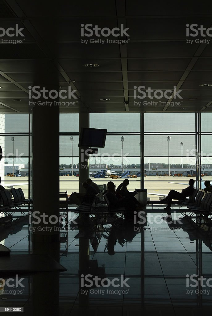 Waiting to board stock photo