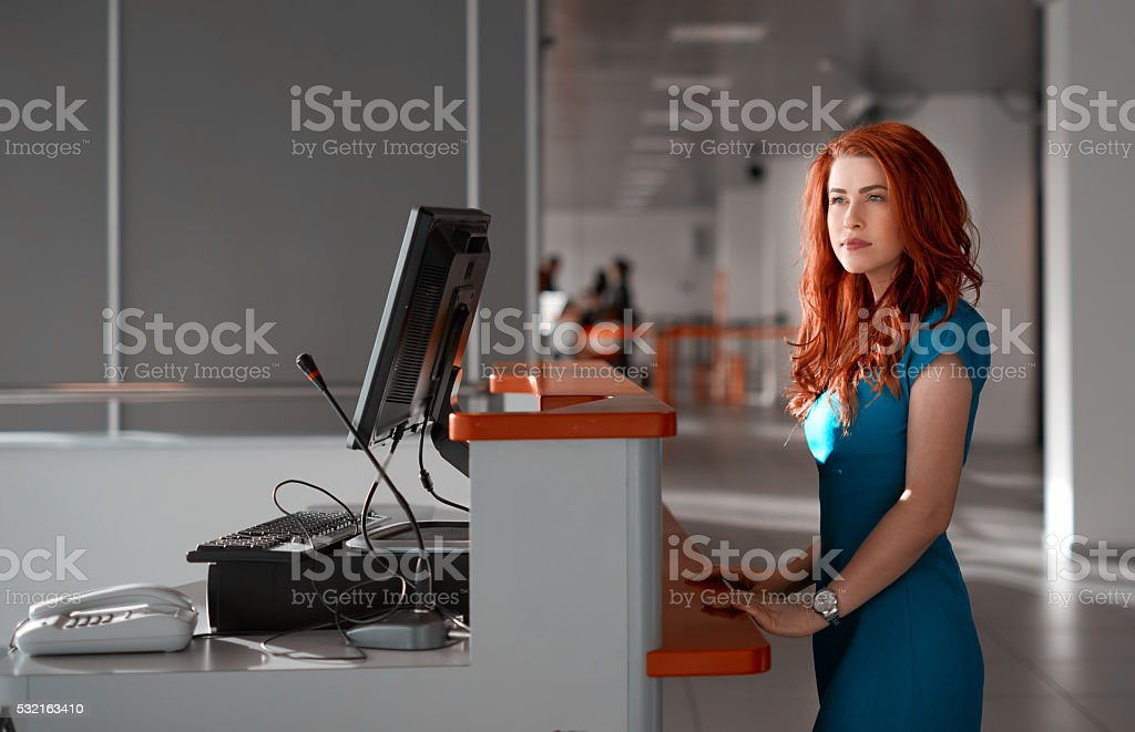waiting to do my check in stock photo