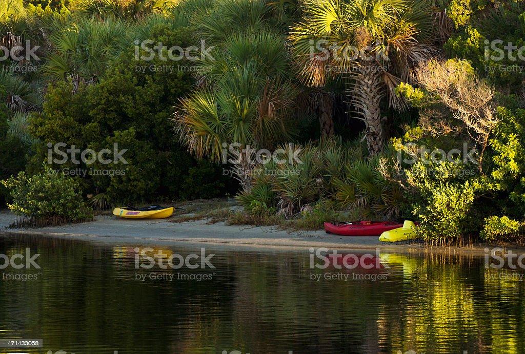Waiting To Go Kayaking At Sunrise stock photo