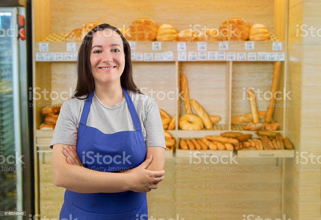 waiting to her customers stock photo