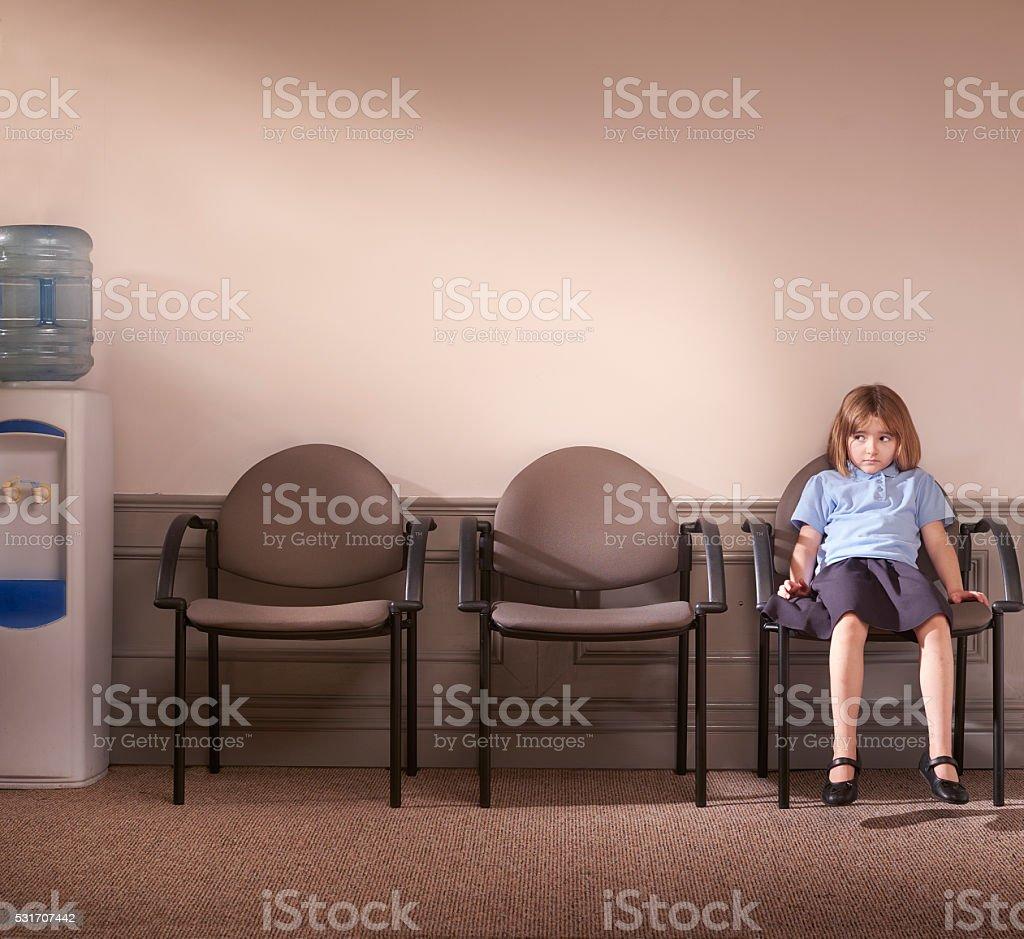 waiting to see the principal stock photo