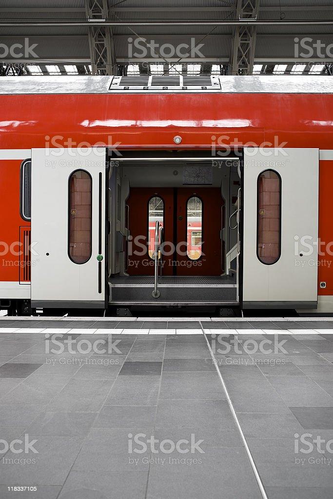 Waiting train - doors open royalty-free stock photo