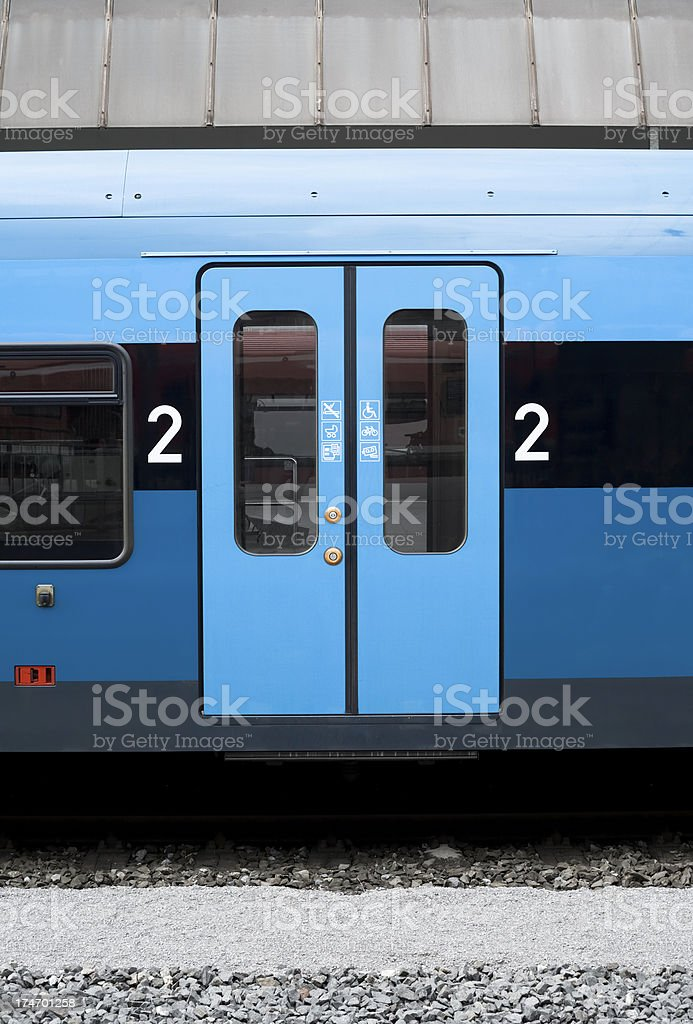 Waiting train with closed doors royalty-free stock photo