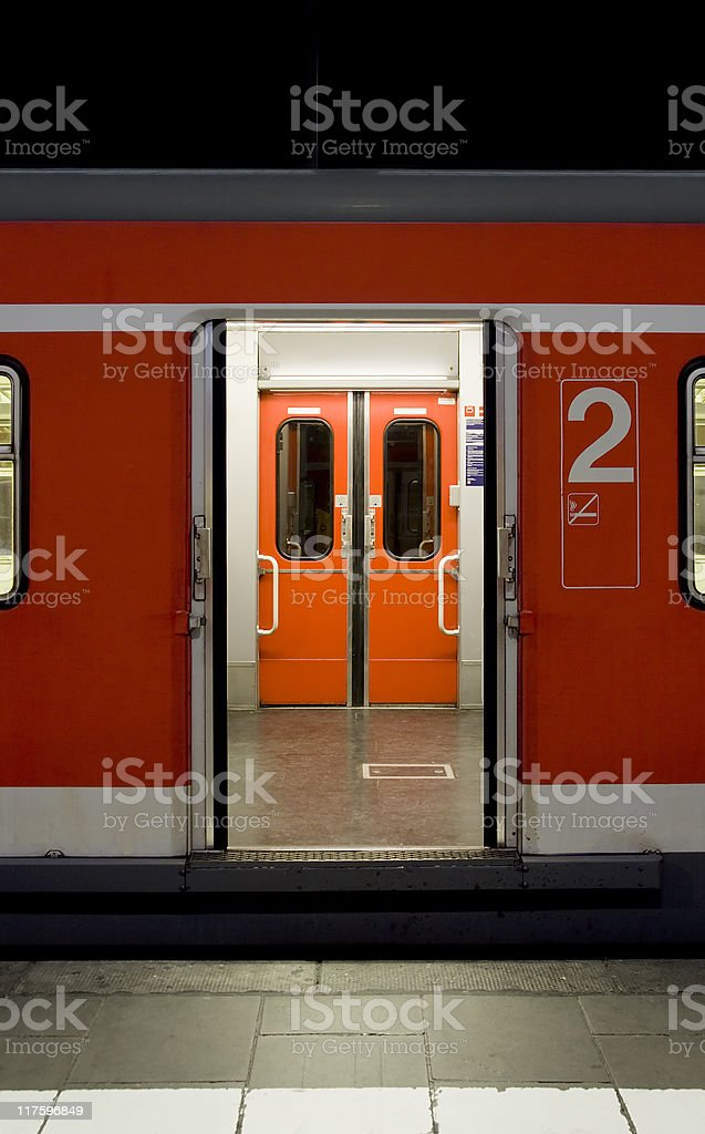 Waiting train - with open doors royalty-free stock photo