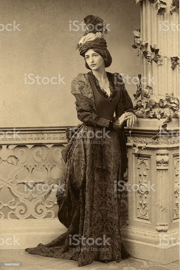 Waiting.Victorian style portrait. stock photo