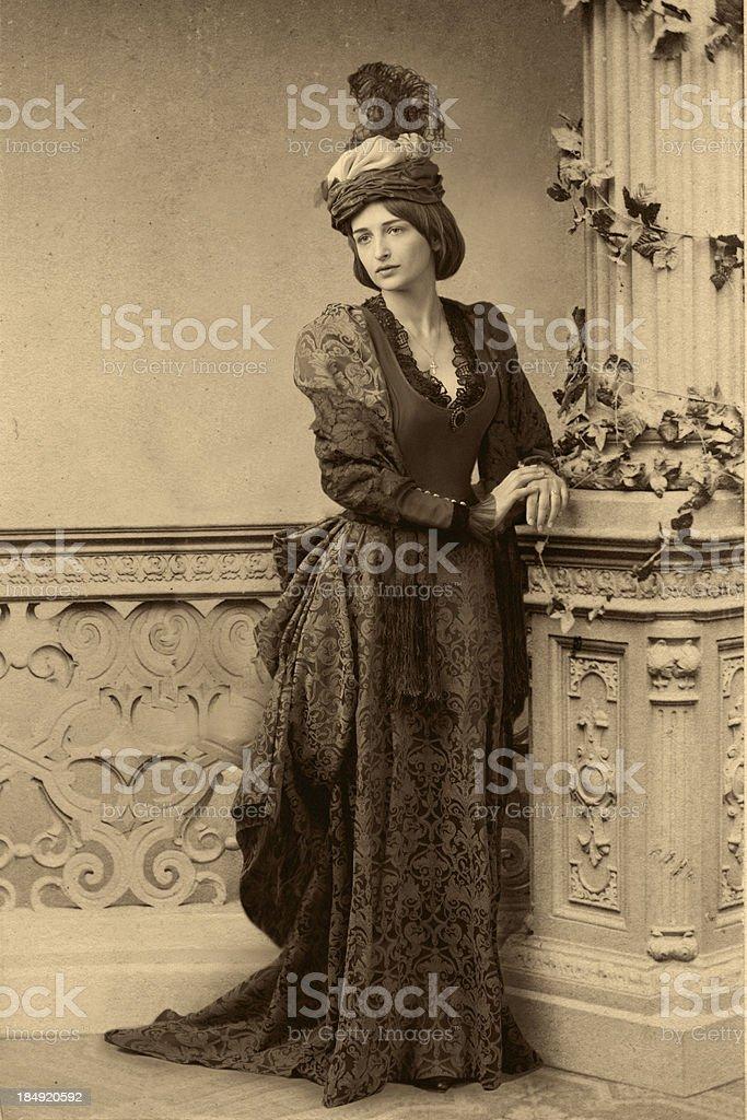 Waiting.Victorian style portrait. stock photo