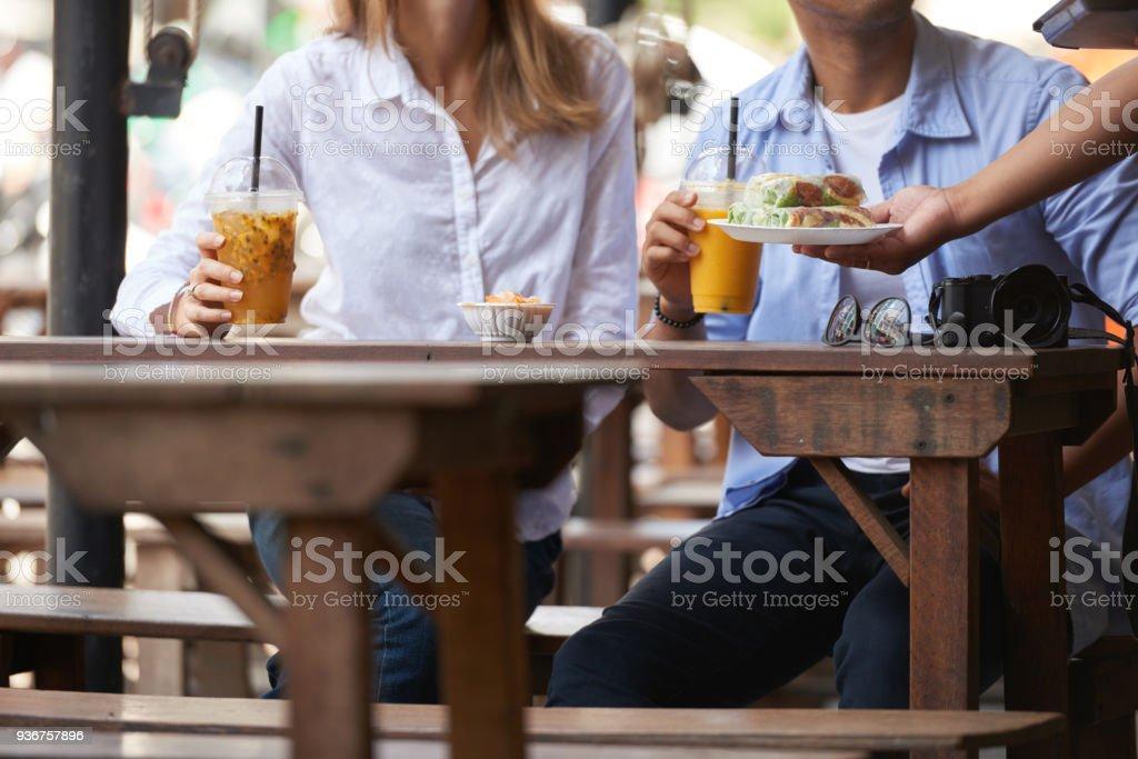 Waitress bringing food stock photo