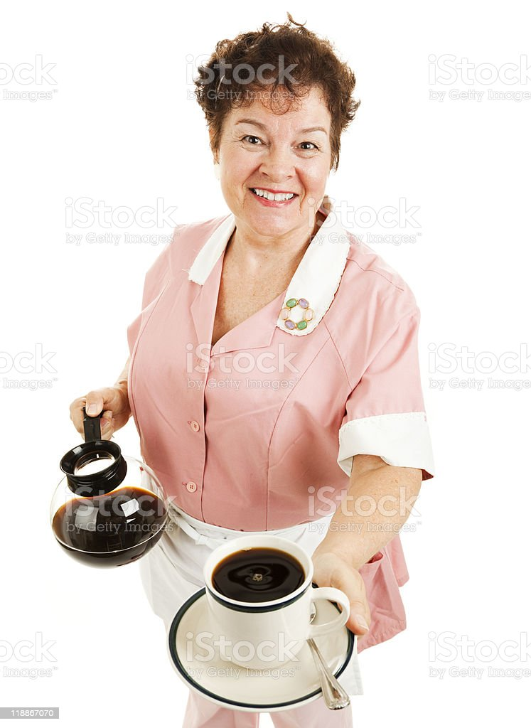 Waitress Serves Your Coffee royalty-free stock photo