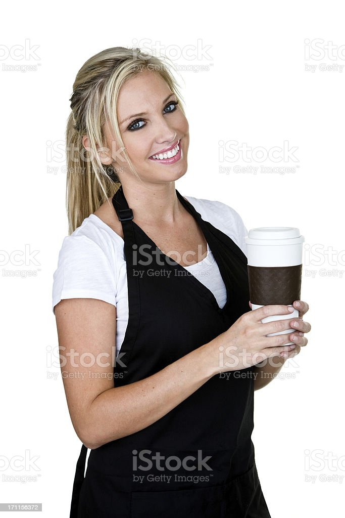 Waitress serving coffee royalty-free stock photo