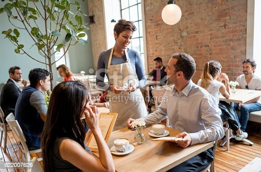 635812444 istock photo Waitress serving people at a restaurant 622007626
