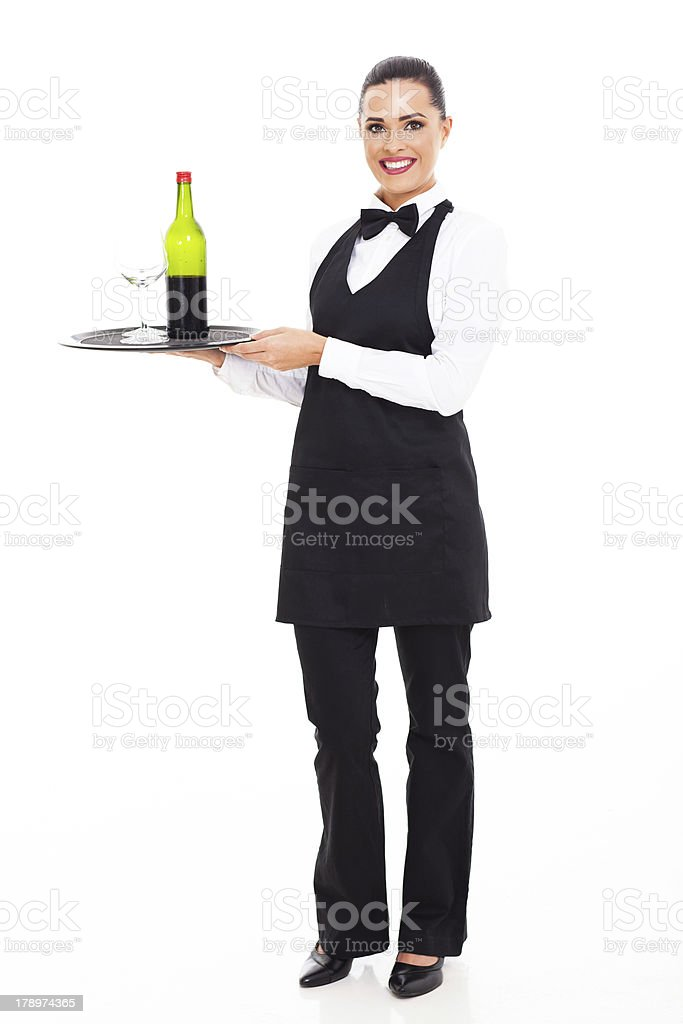 waitress sommelier with wine and glass royalty-free stock photo