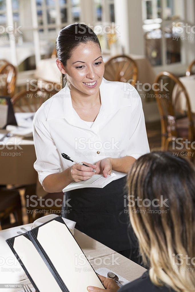Waitress taking order royalty-free stock photo