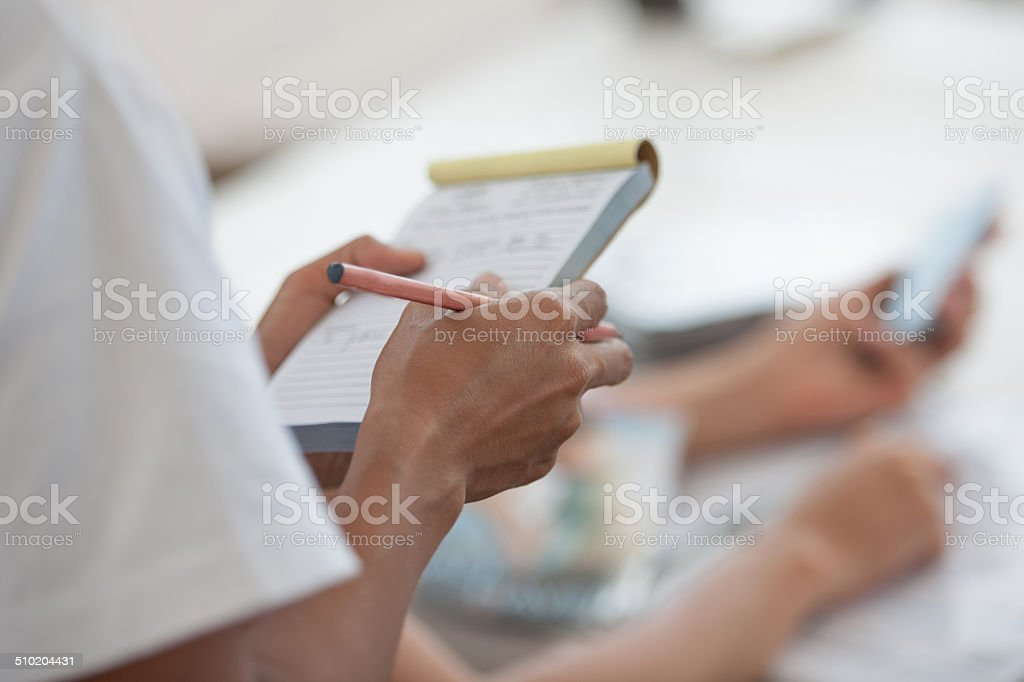 Waitress taking order stock photo