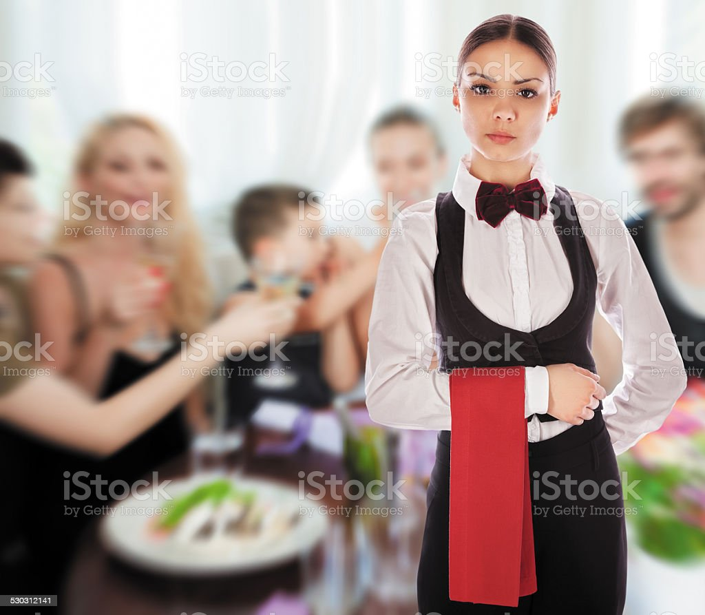 waitress uniform restaurant guest stock photo