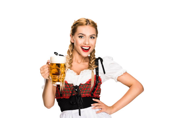 waitress with beer on oktoberfest - oktoberfest stock pictures, royalty-free photos & images