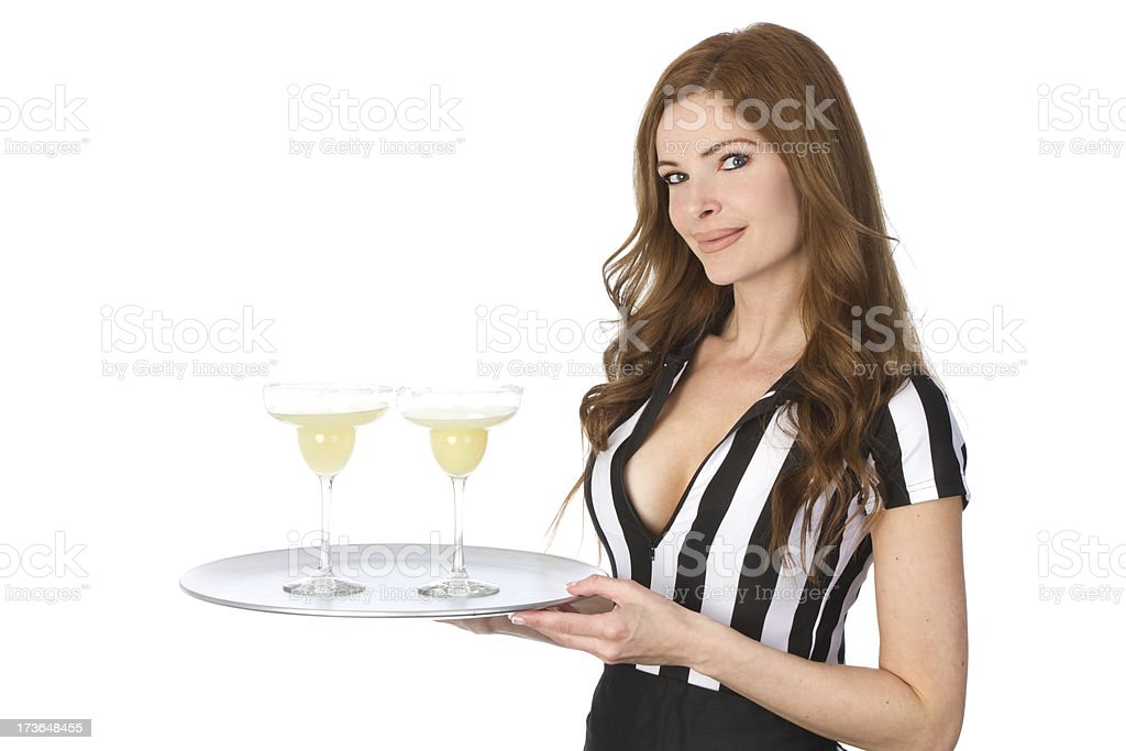 waitress with margaritas royalty-free stock photo