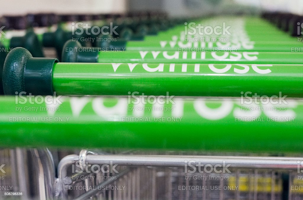 Waitrose brand shopping trolleys stock photo