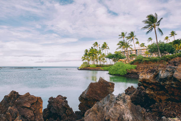 Waiulua Bay Waikoloa Village Big Island Volcanic beach Hawaii stock photo