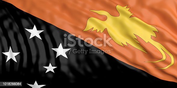 istock Waiving Papua New Guinea flag. 3d illustration 1018266084