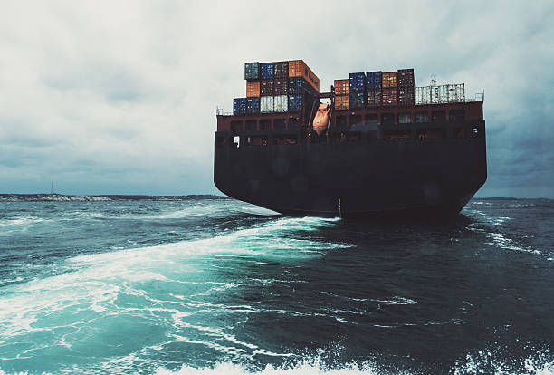 Wake of Container Ship stock photo