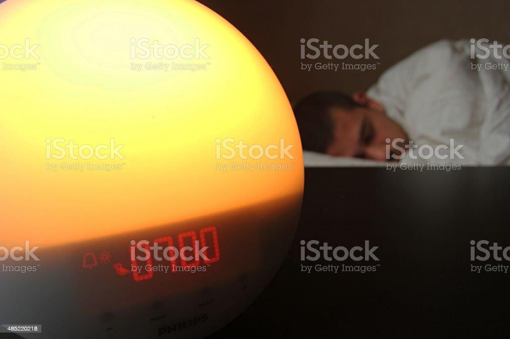 wake up alarm clock stock photo