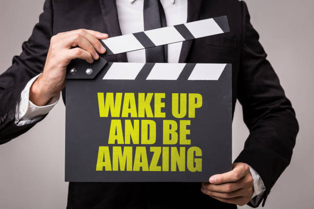 wake up and be amazing - monday motivation stock photos and pictures